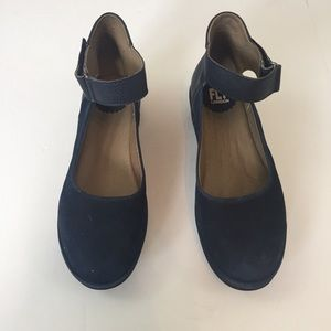 Fly London Blue Ankle Strap Wedge Shoes